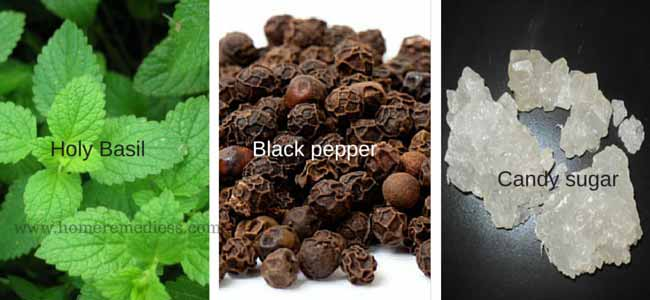 Home remedies for cold using black pepper holy basil and candy sugar